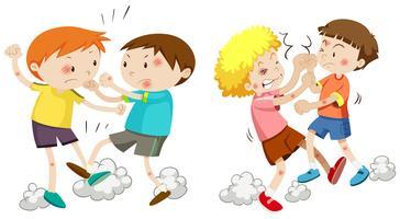 Conjunto de meninos brigando vetor