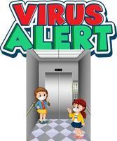 Projeto de fonte de alerta de vírus com duas crianças mantendo distância social isolada vetor