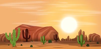 Uma paisagem quente do deserto vetor