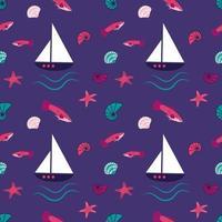 padrão marinho brilhante com peixes fantásticos, navios, estrelas do mar e conchas vetor