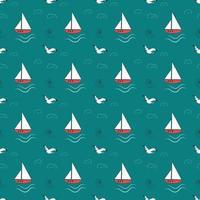 padrão marinho de verão com navios, ondas e gaivotas vetor