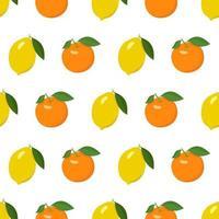 padrão brilhante sem costura com limão e laranja vetor