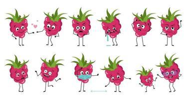 conjunto de personagens fofinhos de framboesa com emoções vetor