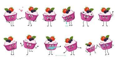 conjunto de personagens fofinhos de bolo ou iogurte com emoções vetor