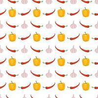 padrão sem emenda com pimentão amarelo, pimenta e alho 4 vetor