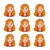 conjunto de avatares de expressões faciais de mulher com cabelo vermelho vetor