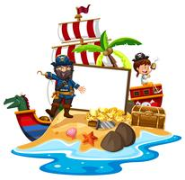 Um, pirata, com, menina, bandeira, modelo