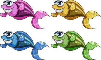 conjunto de desenhos animados de muitos peixes engraçados isolado no fundo branco vetor
