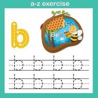 Exercício de abelha de letra do alfabeto, ilustração em vetor conceito corte de papel