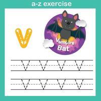 Exercício de v-vampire morcego letra do alfabeto, ilustração vetorial de conceito de corte de papel vetor