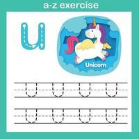 letra do alfabeto exercício u-unicórnio, ilustração vetorial de conceito de corte de papel vetor