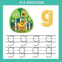 Exercício de g-girafa da letra do alfabeto, ilustração vetorial de conceito de corte de papel vetor