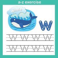 letra do alfabeto exercício baleia w, ilustração vetorial de conceito de corte de papel vetor