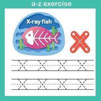 Exercício de peixes raio xx letra do alfabeto, ilustração vetorial de conceito de corte de papel vetor