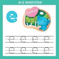 Exercício de e-elefante com letra do alfabeto, ilustração vetorial de conceito de corte de papel vetor