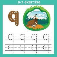 Exercício de q-codorna com letra do alfabeto, ilustração vetorial de conceito de corte de papel vetor