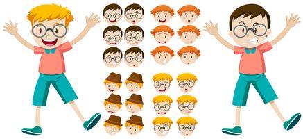 Meninos com expressões faciais vetor