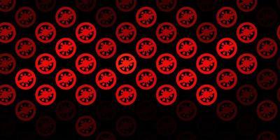 pano de fundo vector laranja escuro com símbolos de vírus.