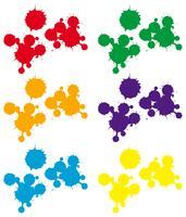 Fundo de respingo em seis cores vetor