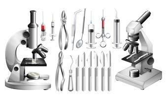 Equipamentos médicos e ferramentas diferentes vetor