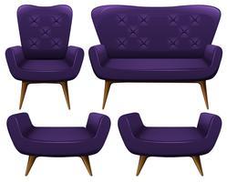 Sofá e cadeiras em roxo vetor