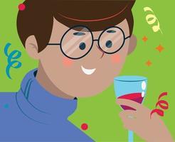 um homem bebe álcool em um copo em uma festa. vetor