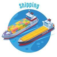 ilustração vetorial de fundo isométrico de porto marítimo redondo vetor