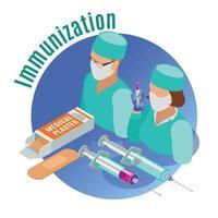 ilustração vetorial de emblema isométrico de vacinação vetor