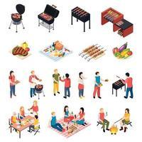 ilustração vetorial conjunto de ícones de piquenique churrasqueira isomética vetor
