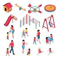ilustração em vetor conjunto isométrico do jardim de infância