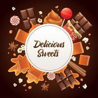 ilustração em vetor composição moldura caramelo realista