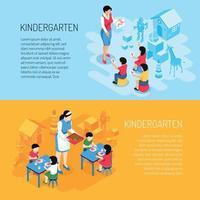 ilustração do vetor de banners isométricos do jardim de infância