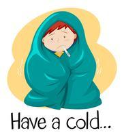 Palavra para ter um resfriado com uma criança no cobertor vetor