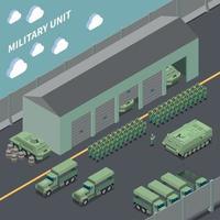 ilustração em vetor composição isométrica de unidade militar