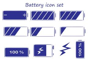 Conjunto de ícones de bateria vetor
