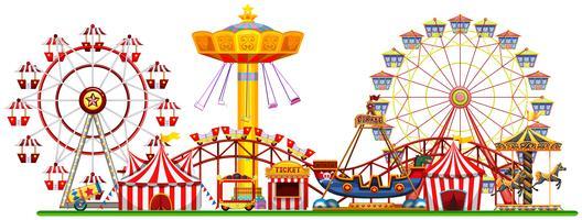 Um panorama da feira de diversões