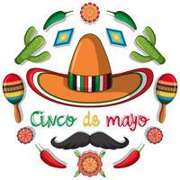 Modelo de cartão de cinco de mayo com decorações mexicanas vetor