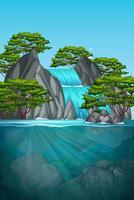 Cena da cachoeira bela natureza vetor