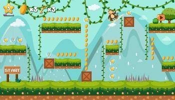 Um modelo de jogo de selva com macaco vetor