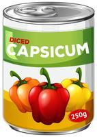 Uma lata de capsicum em cubos vetor