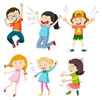 Um conjunto de crianças ativas no fundo branco vetor