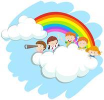 Crianças felizes sobre o arco-íris vetor