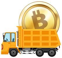 Moeda de ouro no caminhão de despejo vetor