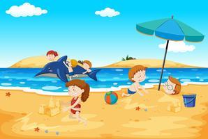 Crianças, tocando, praia vetor