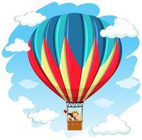 Crianças, em, balão ar quente vetor
