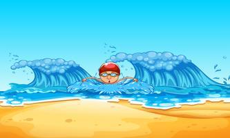 Um homem nadando no oceano vetor
