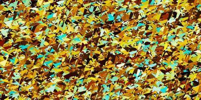 modelo de vetor azul claro, amarelo com cristais, triângulos.