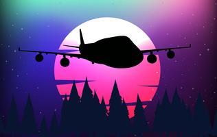 Cena fundo, com, avião silhueta vetor