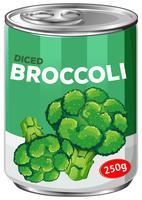 Uma lata de brócolis em cubos vetor