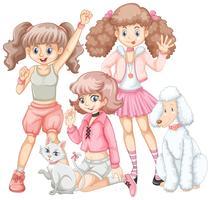 Grupo de meninas e animais de estimação vetor